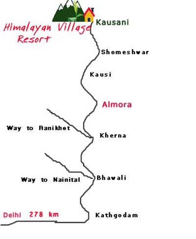 Kausani Hill Station map