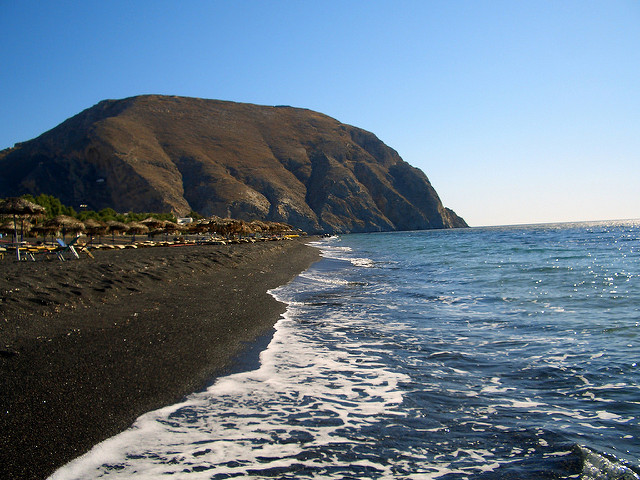 Perissa black sand Beaches