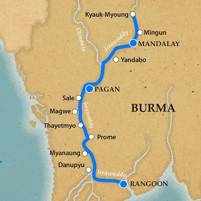 Irrawaddy River Cruising Map