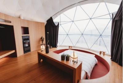 white pod hotel room