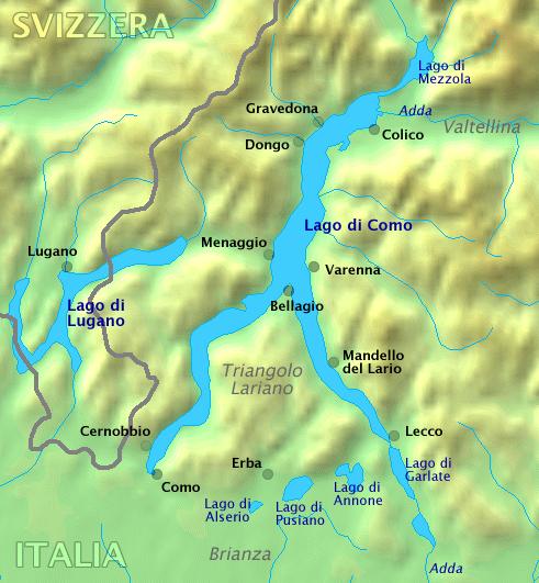 Lake Como on Map Italy