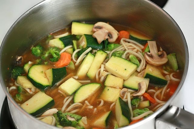 Vegetarian Thai Food Tofu noodles soup