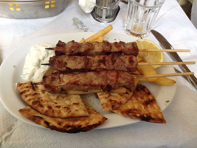 Souvlaki, street food from Cyprus