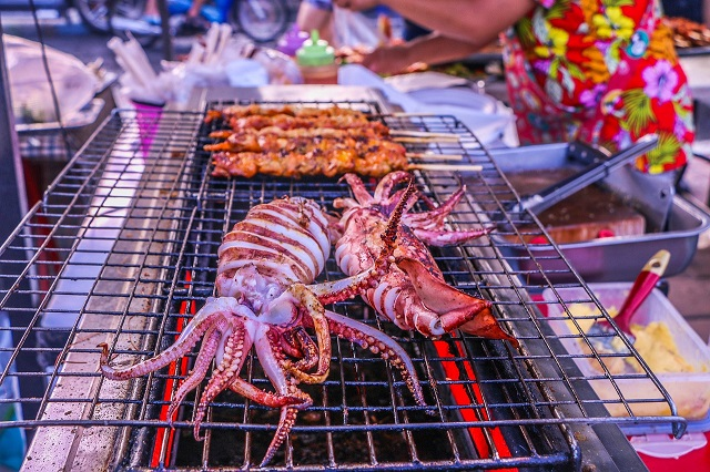 Squid Skewer, Asian Street food from Cambodia