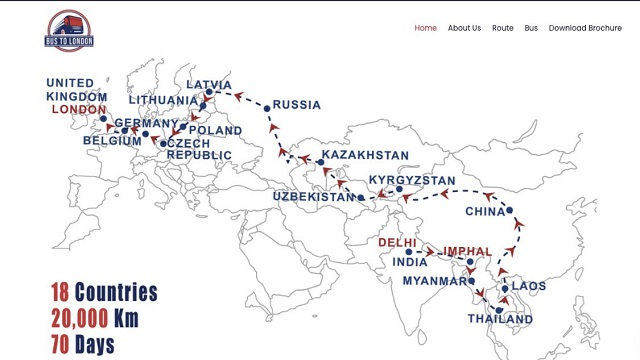 Delhi to London Map